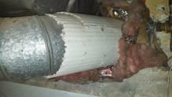 View of asbestos pipe wrap